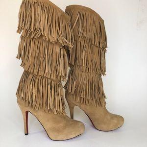 CHRISTIAN LOUBOUTIN Suede Fringe Stiletto Boots